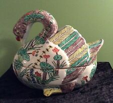 RARE FINE ART DECO GOOSE SHAPED PORCELAIN COVERED TUREEN OR CONTAINER