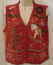 SEGUE women UGLY CHRISTMAS SWEATER VEST Size MED Rocking Horse Tree #L204