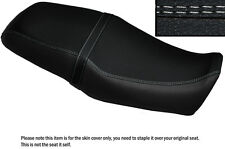 BLACK LEATHER WHTE DS STITCH CUSTOM FITS YAMAHA SRV 250 DUAL SEAT COVER
