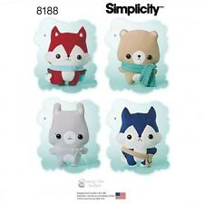 Simplicity SEWING PATTERN 8188 Stuffed Toy Fox,Wolf,Bear & Bunny +  Accessories