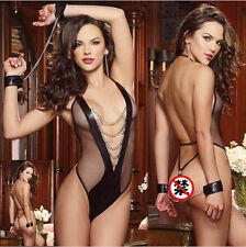 Women's Sexy Lingerie Lace Underwear Black Babydoll Dress G-string  R750