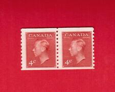 1950  #  300 ** FNH  TIMBRE  CANADA PAIR COIL STAMP    KING GEORGE VI