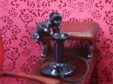 Dolls House Miniature, Stick Phone In Black. Old Style 1920's, Telephone, Phone