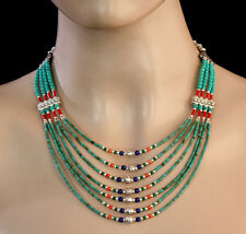 Ethnic Handmade Sterling Silver Necklace Jewelry Turquoise Asian Y12