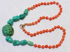 "VINTAGE Chinese Carved TURQUOISE, ANGEL SKIN CORAL BEAD NECKLACE, 17"" long, 19g"