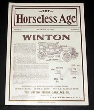 1904 OLD MAGAZINE PRINT AD, WINTON MOTOR CARRIAGES, FOUR MODELS, HORSELESS AGE!