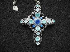 Modeschmuck Halskette mit Kreuz, Antiksilber-farben, Strass, blau, Gothic Kette