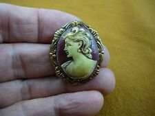 (CS26-19) Left Facing Mature LADY burgundy ivory CAMEO Pin Pendant w/ long hair