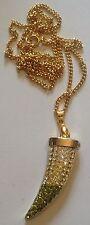 pendentif collier corne dentporte bonheur couleur or cristaux coul citrine 96