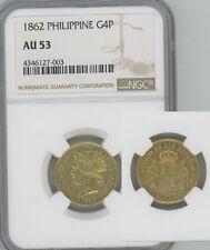 PHILIPPINES 1862 gold 4 Pesos  Isabel II  NGC AU53