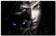 GOTHIC ANGEL & BLACK CAT- QUALITY CANVAS ART PRINT- Poster A2