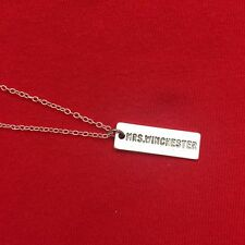 """Mrs. Winchester"" Name Plate Silver Charm Necklace. Supernatural Jewelry."