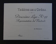 Carte de visite THEATRE DE L'OPERA loge n°19 PARIS old visit card