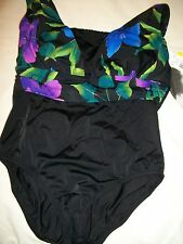 LADIES MISSES WOMENS SIZE 14 ONE PIECE SWIMSUIT BATHING SUIT BY LONGITUDE  NWT