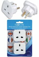Multi National Travel Adaptor Set 2 Pack European Australian Ireland USA ES0060