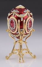 Faberge  Red Egg with swan by Keren Kopal trinket box Austrian crystals