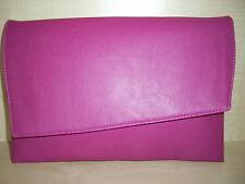 OVER SIZED FUCHSIA PINK faux leather clutch bag, fully lined BN .British made