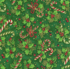 "Christmas Tiny Candy Canes & Holly 20 4"" fabric squares 100% cotton quilting"