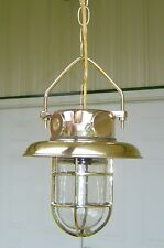 Beautiful Polished Cast Brass Pendant Light With Brass Deflector Cover