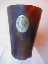 Antique HORN CUP - GLASS - BEAKER  with SILVER MEDALLION ?