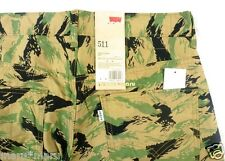 New Mens LEVIS 511 SLIM Chino 32 x 32 FOREST LEAVES beige/green pants leaf print