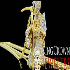 Genuine Diamond Grim Reaper Angel Of Death Devil Pendant 10K Yellow Gold Finish