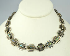 """VINTAGE SIGNED J.C. HEAVY MEXICAN STERLING SILVER ABALONE 16"""" CHOKER NECKLACE"""