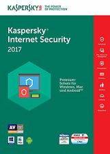 KASPERSKY INTERNET SECURITY 2017 3 PC / Geräte  1 Jahr Vollversion