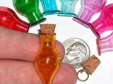 Glass Tear potion Bottle vial tube cork pendant necklace Christmas charm Yellow