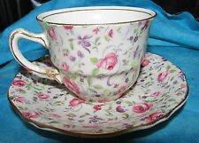 Vintag Royal Winton Grimwades Rose Du Barry Chintz Bone China Cup & Saucer MINT