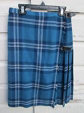 St Michaels Womens Mens Vintage Blue Plaid Wool Blend Kilt Size 12 GB 40 EUR
