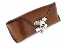 Celyfos® Handmade Italian leather eye glasses case for Browline frames