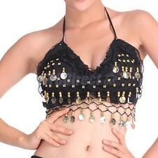 SEXY TRIBAL GYPSY BELLY DANCING COSTUME FOLDED LACE PADDED BRA TOP GOLDEN COIN