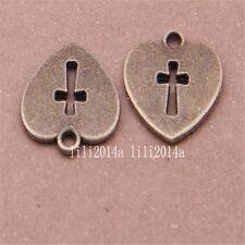 12pc Antique Bronze heart cross Pendant Charms Accessories Bead wholesale PL373