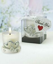 36 Interlocking Silver Heart Candle Holder -  - Wedding Favors