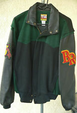 """Bull Riding Rodeo Jacket """"Bull Riders Only"""" Leather Wool Exc. Med. BRO,PBR,PRCA,"""