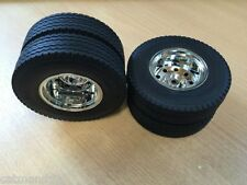 Tamiya 1/14 MAN Scania Mercedes Rear Wheels Tyres Set Hauler Aeromax