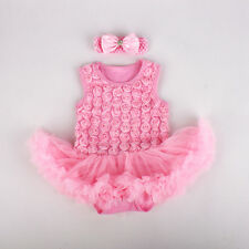 2pcs Infant Baby Girl Toddler Headband+Romper Tutu Clothes Outfit 6-9M Pink Set