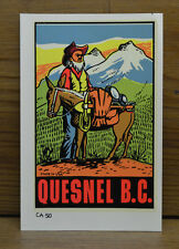 VINTAGE TRAVEL DECAL GOLD MINER QUESNEL BC CANADA PROSPECTOR MOUNTAIN MULE OLD