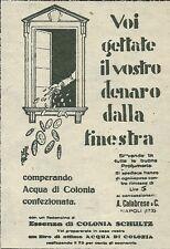 W8106 Essenza di colonia SCHULTZ - Soldi lanciati - Pubblicità 1930 - Advertis.