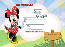 Minnie Mouse kids Birthday Party Invitations X 10 CARDS + envelopes
