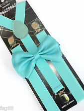 New  Wedding Accessories Aqua Mint Green Men's Bow Tie & Suspender & Bow Tie Set