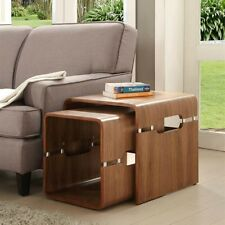 Jual Furnishings JF706 Curved Cube Style Nest of Tables - Walnut