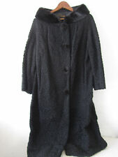 Vintage Rizzuto Fur Stylist Inc. Black Curly Lamb Long Coat with Mink Collar