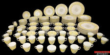 VTG Wedgwood Pimpernel Yellow Gray Gold Trim China 133pc Service for 8 Extra L3Z