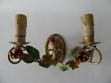 VINTAGE FRENCH HAND PAINTED METAL FLORAL WALL SCONCE LIGHT OR CANDLE HOLDER