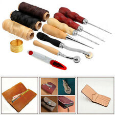 13 In 1 Leather Craft Hand Stitching Sewing Tools Thread Awl Waxed Thimble Lots