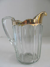 EARLY AMERICAN PATTERN GLASS PANELED HEAVY GLASS PTICHER W GOLD GILD
