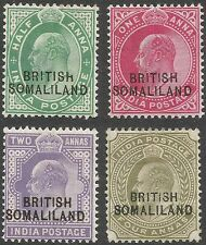 Somaliland Protectorate. 1903 KEVII Stamps of India O/P. 4 MH values to 4a D2218