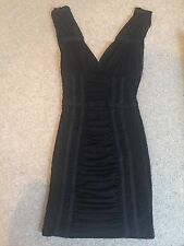 H&M Black Lace Panelled Mini Dress Bodycon Floral Sheer Brand New 10